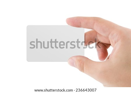 Blank credit card or business card isolated on white background - stock photo