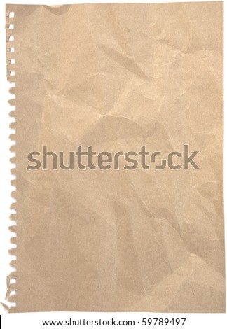 Blank crumpled and tinted notepaper sheet with ripped holes isolated on white background. - stock photo
