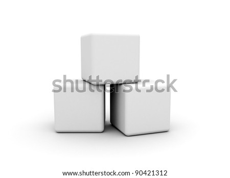 blank cubes on white background - stock photo