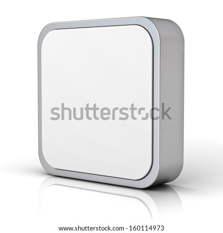Blank 3d square button with chrome metal frame isolated over white background with reflection - stock photo