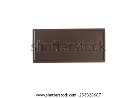 Blank dark chocolate bar on white background - stock photo