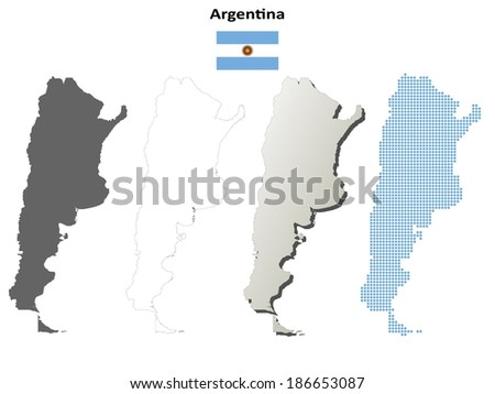 Blank detailed contour maps of Argentina - jpeg version - stock photo