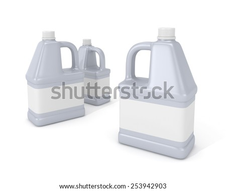 Blank detergent bottle. 3d illustration isolated on white background. - stock photo
