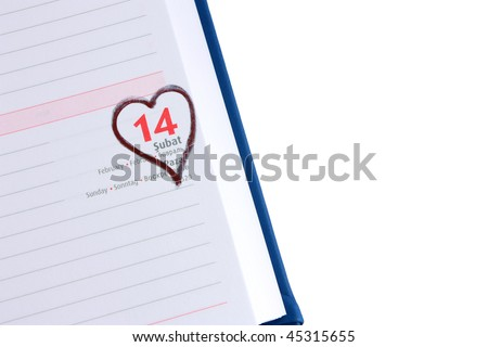 Blank diary page 14 February with copyspace - stock photo