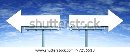 Blank directional billboard signs in the shape of arrows as a symbol of choice in marketing and having a difficult buying decision or dilemma on a blue sky. - stock photo