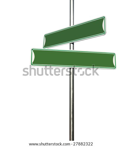Blank Directional Metal Sign Post Isolated on White Background - stock photo