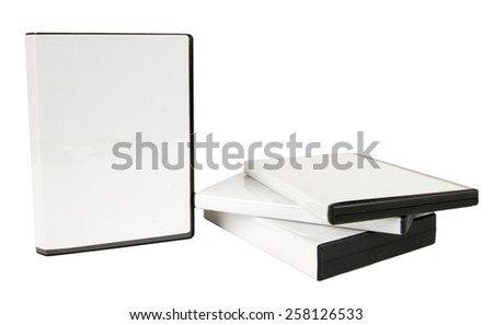 Blank DVD Case Storage With Blank Case On Side - stock photo