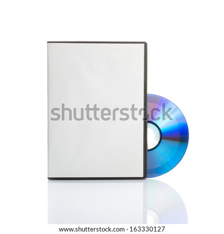 Blank dvd with cover on white background - stock photo