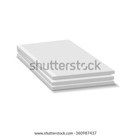 Blank Empty Magazine Or Paperback Book Pile. Three Journals Template. Mock Up For Your Design. White Background. - stock photo