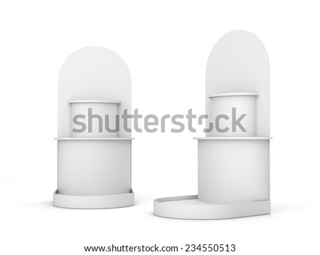 blank empty stands or displays for products isolated on white. 3d render - stock photo