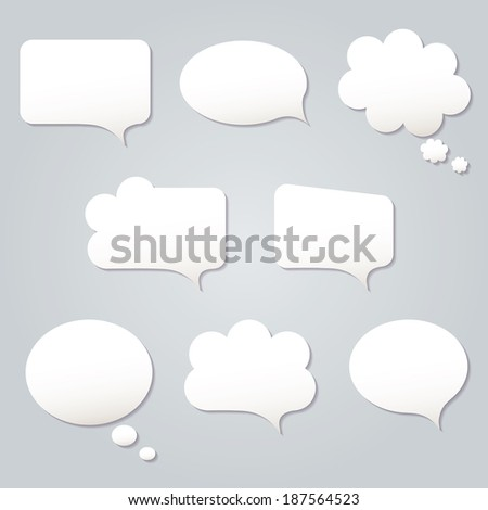 Blank empty white speech bubbles paper collection set isolated on grey background. Raster copy. - stock photo