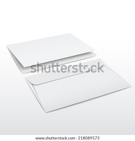 blank envelope and letter template isolated on white - stock photo