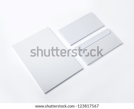 Blank Envelopes and document isolated on white - stock photo