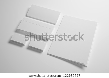 Blank Envelopes Business card and folder - stock photo
