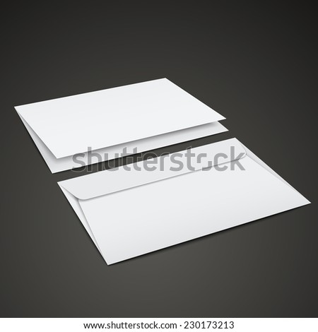blank envelopes template isolated over black background - stock photo