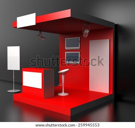 Blank exhibition kiosk, 3d render. Original 3d models. - stock photo