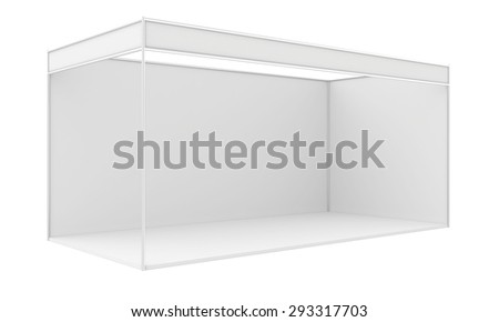 Blank exhibition stand. 3d render isolated on white background. - stock photo
