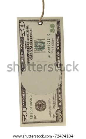 blank 50$ fifty dollars bank note and tag tied isolated on white background - stock photo