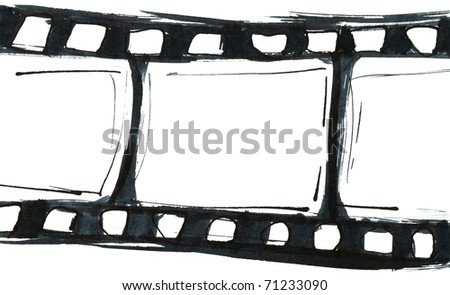 Blank film strip on white background - stock photo