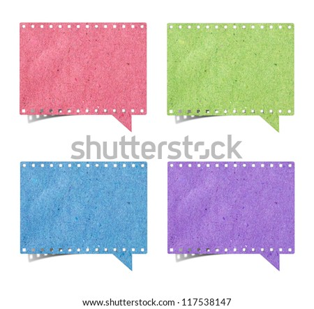 blank film strip speech bubbles recycled paper craft stick on white background - stock photo