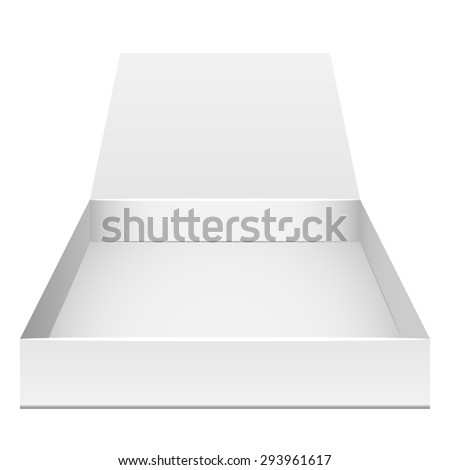Blank flat opened box isolated on white. Front view. - stock photo