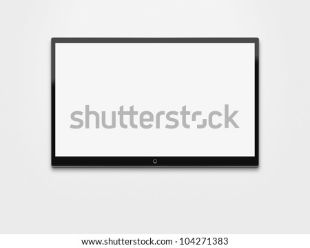 Blank flat screen TV hanging at the wall with clipping path for the inside - stock photo