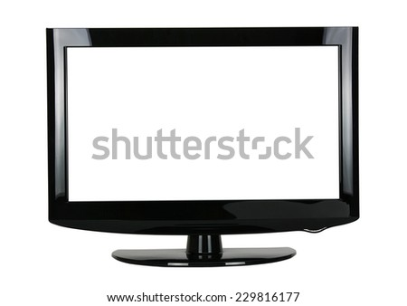 blank flat screen TV set, isolated on white background  - stock photo