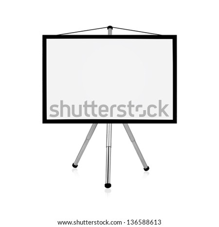 blank flip chart on a white background - stock photo