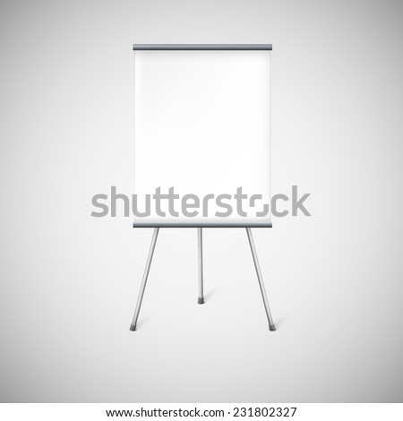 Blank flip chart or advertising stand, easel isolated on white. - stock photo
