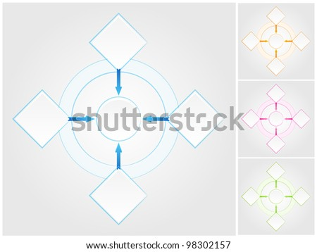 Blank flowchart. Four color variations in different layers - stock photo