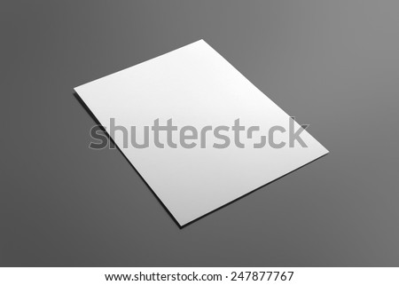 Blank flyer poster isolated on grey to replace your design - stock photo