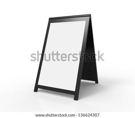 Blank foldable advertising board. Very modern look. You can easily paste your custom text onto the board. - stock photo