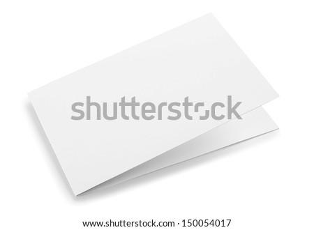 Blank folded card isolated - stock photo