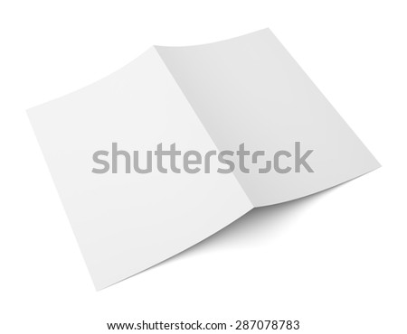 Blank folded flyer, booklet, postcard, business card or brochure mockup template isolated on white background - stock photo