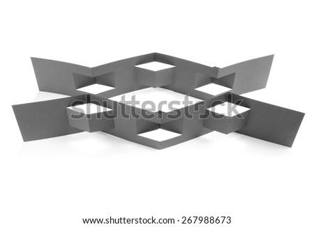 Blank folded paper leaflet or flyer mockup - stock photo