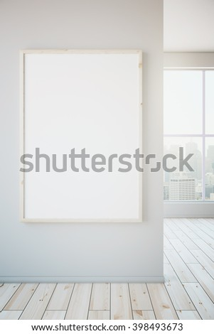 Blank frame hanging on white wall in room with light wooden floor and window with view. Mock up, 3D Rendering - stock photo
