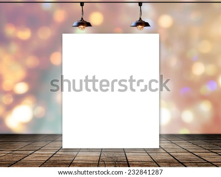 Blank frame on bokeh background with Ceiling lamp - stock photo