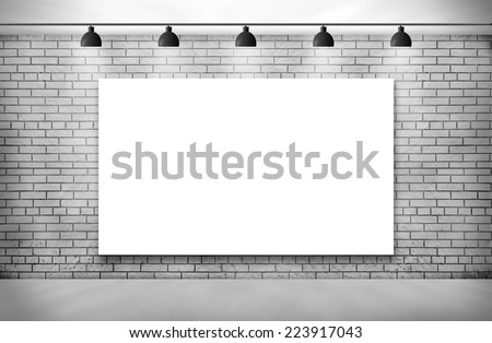 Blank frame on White Brick wall with Ceiling lamp - stock photo