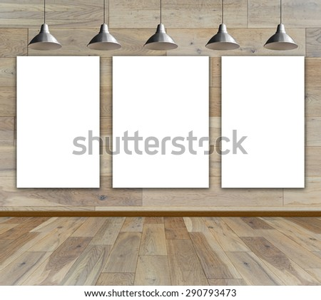 Blank frame on wood wall with Ceiling lamp for information message - stock photo