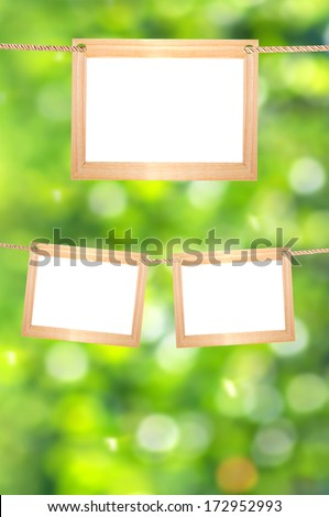 Blank frames on a background of green bokeh. Frames for your photos. - stock photo