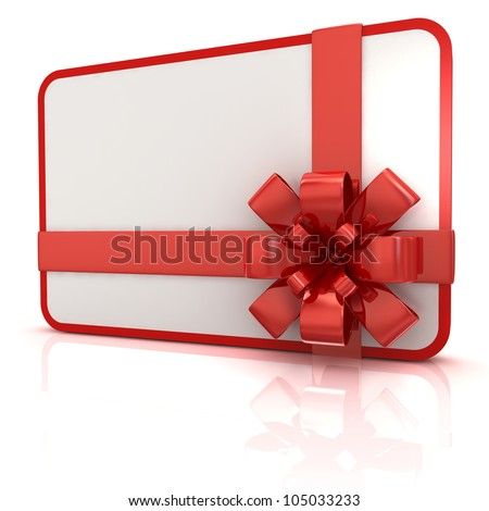 blank gift card with red ribbon - stock photo