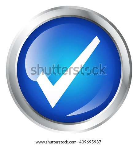 Blank, glossy icon or button with hook or check mark symbol. - stock photo
