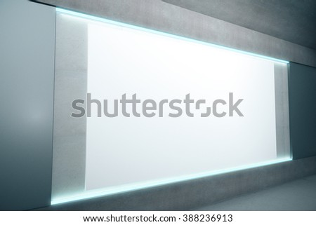 Blank glowing poster on concrete wall, mock up, 3D Render - stock photo