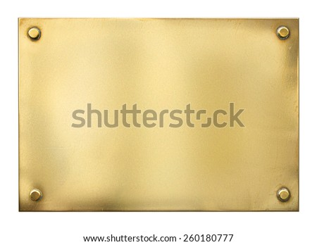 blank gold or brass metal sign or nameboard isolated on white - stock photo