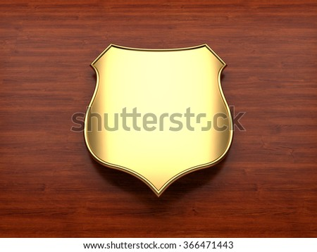 Blank Gold Shield - stock photo