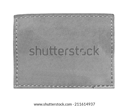 blank gray jeans leather label  isolated on  white  - stock photo