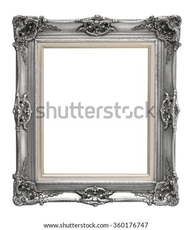 Blank gray vintage frame isolated on white background - stock photo