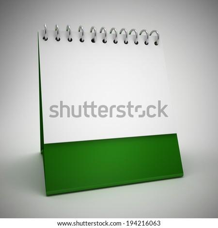 blank green calender - stock photo
