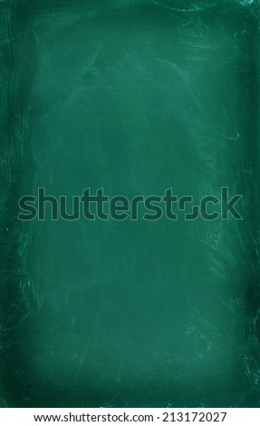 Blank green chalkboard, blackboard texture - stock photo