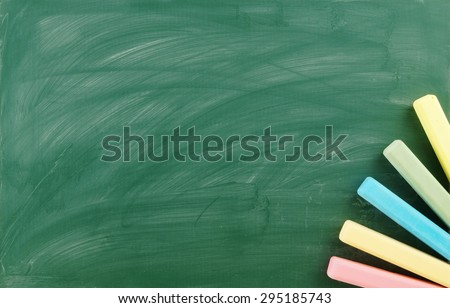 Blank green chalkboard, school board background with chalk - stock photo
